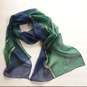 HALSTON Hand Rolled Silk Scarf - stem and leaves